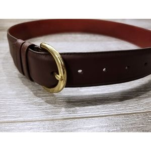 COACH Dark Brown Leather Belt w/ Gold Buckle